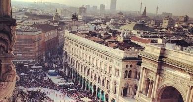 Milao, vista do alto do terraço da catedral, o Duomo.